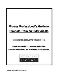 Fitness Professional s Guide to Strength Training Older Adults