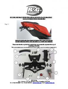 FITTING INSTRUCTIONS FOR LP0116 LICENCE PLATE BRACKET DUCATI STREETFIGHTER