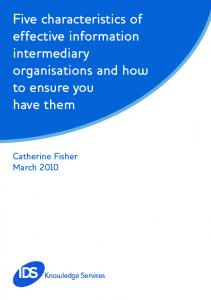 Five characteristics of effective information intermediary organisations and how to ensure you have them