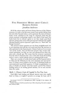 FIVE PERSISTENT MYTHS ABOUT CHINA S BANKING SYSTEM Jonathan Anderson