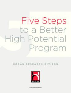 Five Steps to a Better High Potential Program HOGAN RESEARCH DIVISON