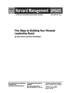 Five Steps to Building Your Personal Leadership Brand
