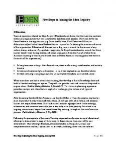 Five Steps to Joining the Eden Registry