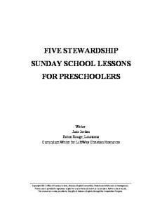 FIVE STEWARDSHIP SUNDAY SCHOOL LESSONS FOR PRESCHOOLERS