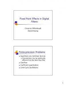 Fixed Point Effects in Digital Filters