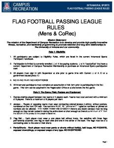 FLAG FOOTBALL PASSING LEAGUE RULES