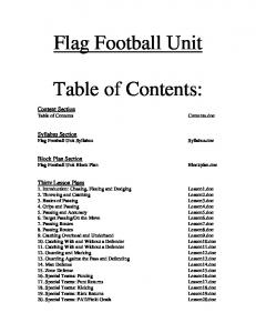 Flag Football Unit. Table of Contents