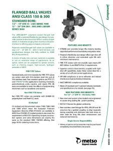 FLANGED BALL VALVES ANSI CLASS 150 & 300 STANDARD BORE: