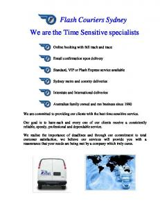 Flash Couriers Sydney We are the Time Sensitive specialists