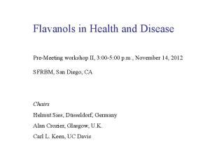 Flavanols in Health and Disease