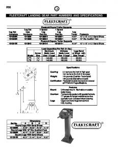FLEETCRAFT LANDING GEAR PART NUMBERS AND SPECIFICATIONS