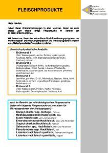 FLEISCHPRODUKTE. chemisch-physikalische Analytik: