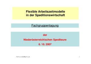 Flexible Arbeitszeitmodelle in der Speditionswirtschaft. Fachgruppentagung