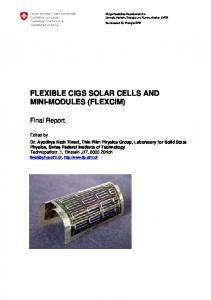 FLEXIBLE CIGS SOLAR CELLS AND MINI-MODULES (FLEXCIM)