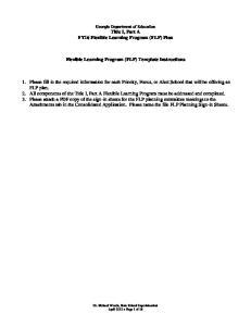 Flexible Learning Program (FLP) Template Instructions