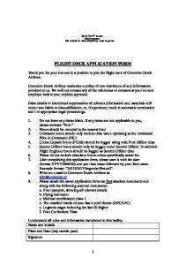 FLIGHT DECK APPLICATION FORM