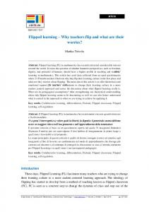 Flipped learning Why teachers flip and what are their worries?