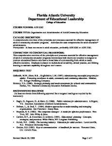 Florida Atlantic University Department of Educational Leadership College of Education