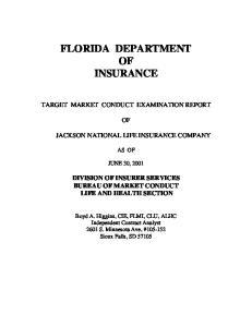FLORIDA DEPARTMENT OF INSURANCE