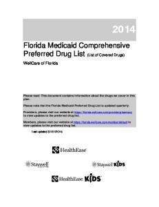 Florida Medicaid Comprehensive Preferred Drug List (List of Covered Drugs)