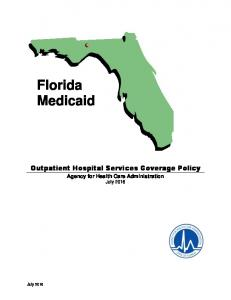 Florida Medicaid. Outpatient Hospital Services Coverage Policy