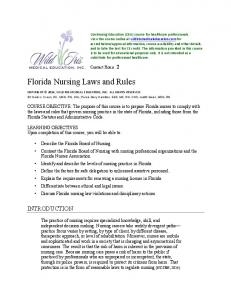 Florida Nursing Laws and Rules