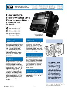 Flow meters, Flow switches and Flow transmitters