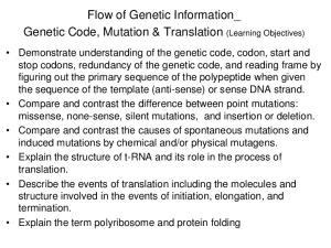 Flow of Genetic Information_ Genetic Code, Mutation & Translation (Learning Objectives)