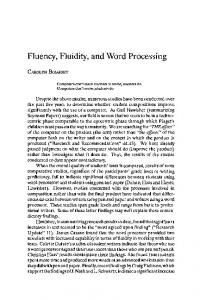 Fluency, Fluidity, and Word Processing
