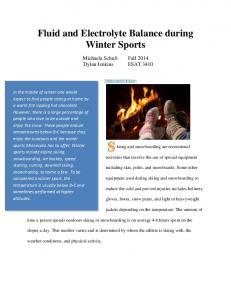Fluid and Electrolyte Balance during Winter Sports