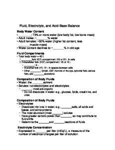 Fluid, Electrolyte, and Acid-Base Balance