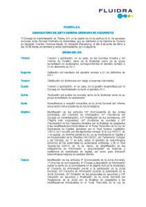 FLUIDRA, S.A. CONVOCATORIA DE JUNTA GENERAL ORDINARIA DE ACCIONISTAS