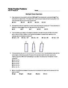 Fluids Practice Problems PSI AP Physics B. Multiple Choice Questions