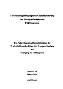 Fluoreszenzspektroskopische Charakterisierung der Transportfunktion von P-Glykoprotein