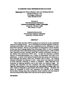FLUOROPOLYMER DISPERSIONS FOR COATINGS