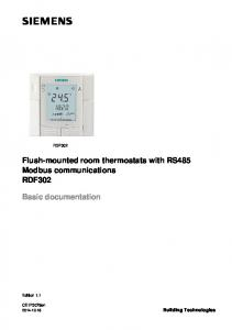 Flush-mounted room thermostats with RS485 Modbus communications RDF302