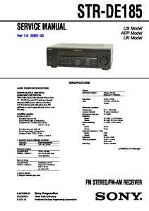 FM-AM RECEIVER. US Model AEP Model UK Model. Ver