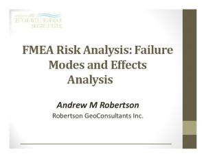 FMEA Risk Analysis: Failure Modes and Effects Analysis. Andrew M Robertson Robertson GeoConsultants Inc