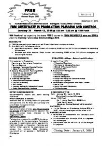 FMM CERTIFICATE IN PRODUCTION PLANNING AND CONTROL