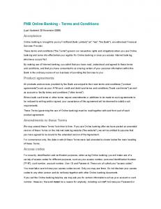 FNB Online Banking - Terms and Conditions