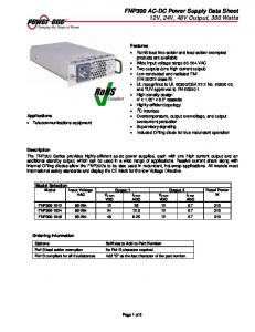 FNP300 AC-DC Power Supply Data Sheet 12V, 24V, 48V Output, 300 Watts