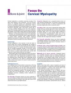 Focus On Cervical Myelopathy