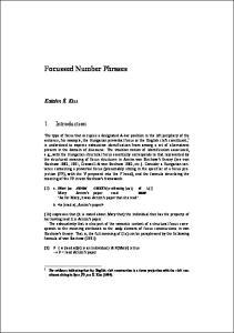 Focussed Number Phrases