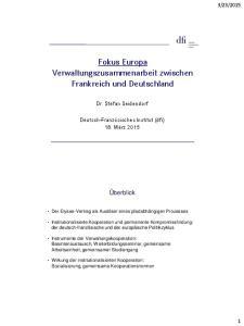 Fokus Europa Verwaltungszusammenarbeit zwischen Frankreich und Deutschland