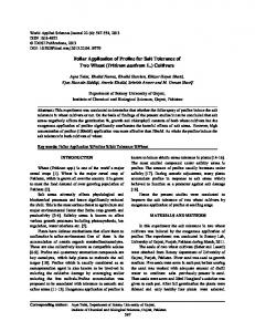 Foliar Application of Proline for Salt Tolerance of Two Wheat (Triticum aestivum L.) Cultivars