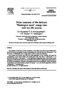 Foliar treatment of Mn deficient Washington navel orange trees with two Mn sources