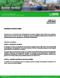 Folio Decreto IMMEX. Enero 28 de REFORMAS EL DECRETO IMMEX