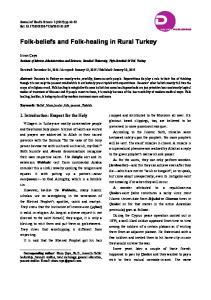 Folk-beliefs and Folk-healing in Rural Turkey. Institute of Marine Administration and Sciences, Istanbul University, Vefa-Istanbul 34134, Turkey