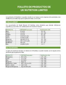 FOLLETO DE PRODUCTOS DE UK NUTRITION LIMITED