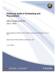 Follow-up Audit of Contracting and Procurement